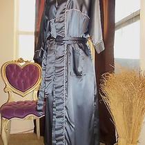 Vtg Satin Christian Dior Slate Silver Shiny Dressing Lingerie Lounge Robe Os  Photo