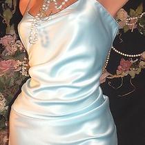 Vtg Satin Sky Blue Shimmery Natori Nightgown Nighty Night Dress Lingerie L 40 42 Photo
