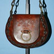 Vtg Seafarer Floral Brown Hand-Tooled Leather Mini Ring Hobo Shoulder Purse Bag Photo