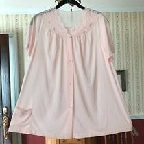 Vtg Shadowline Pajama Top Blush Pink Embroidered Rose Buds Made in Usa Size 34 Photo