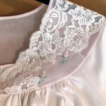 Vtg Shadowline Sz 38 (L) Nylon Bed Jacket Pajama Top Blush Pink Lace Embroidery  Photo
