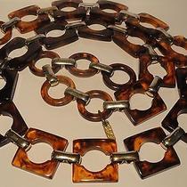 Vtg Signed Ysl Yves Saint Laurent  Faux Tortoise Shell  Modern  Necklace / Belt  Photo