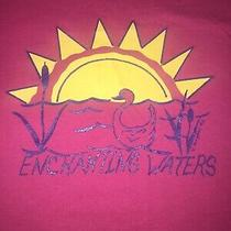 Vtg Single Stitch T Shirt Pink Enchanting Waters J. Campbell 1992 Swan Pond Sun Photo