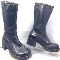 Vtg Skechers Black Zip Chunky Heel Platform Boots Grunge 6 Photo