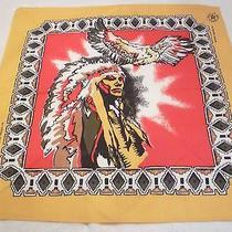 Vtg Southwestern Native American Chief W/ Eagle in Flt   Bandana Scarf Usa  17 Photo