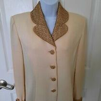 Vtg St John Knit Evening Blazer Beautiful Ivory With Gold Lace & Sequins Size 4 Photo