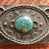 Vtg Sterling Silver Turquoise Native American Hand Made Western Belt Buckle Photo