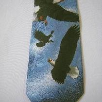 Vtg Steven Harris  Euc Poly Necktie Eagles Hand Made  57