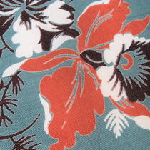 Vtg Stunning Orchid Mid Century Modern Aqua Salmon Chocolate Handkerchief Mod Photo