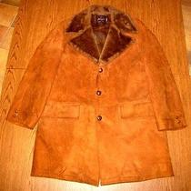 Vtg Sz L-Xl Supersoft Lamb Suede Leather Swagger Sherpa Fleece Fur Car Barn Coat Photo