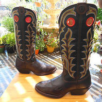 Vtg Tall Sexy Tony Lama 2 Tone Blk/brown Fancy Western Cowboy Boots 10.5d Sweet Photo