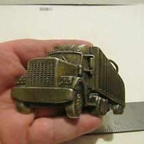 Vtg the Great American Belt Co. Semi-Truck and Trailer  Belt Buckle Used Photo