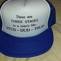 Vtg Three Stages of a Man's Life Stud-Dud-Thud Mesh Trucker Hat Blue/white Kc Photo