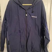 Vtg Timberland Original Weathergear Full Zip Hooded Rain Jacket Coat L Navy Photo
