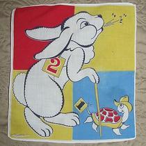Vtg Tom Lamb 50s-60s Tortoise and the Hare Child's Handkerchief Bright Colors  Photo
