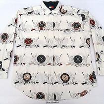 Vtg Tommy Hilfiger Baseball Stadium All Over Print Shirt Sport 90s Og Polo Rap Photo