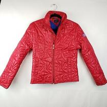 Vtg Tommy Jeans Women's Red Puffer Jacket Coat Rain Size Xs Zip Up Pockets  Photo