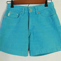 Vtg Usa Guess Women's Turquoise Denim Shorts Size 27 In. Inseam 4.75 In. Photo