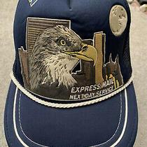 Vtg Usps Express Mail Next Day Service Snap Back Promo Hat Cap Eagle Trucker  Photo
