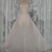 Vtg Vanity Fair Glamour Blush Chiffon Overlay Bodice Nightgown Negligee Gown 36 Photo