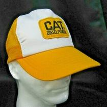 Vtg Vbh Cat Diesel Power Mesh Trucker Farmer Hat Cap Patch Logo Yellow White Photo