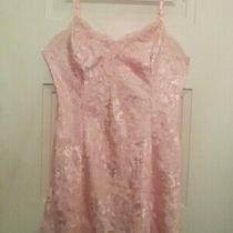Vtg Victoria's Secret Blush Peach Shimmery Satin & Lace Short Night Gown Size L Photo