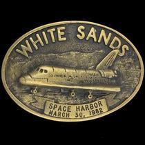 Vtg White Sands Space Harbor Columbia Shuttle Nasa Military Brass Belt Buckle Photo