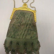 Vtg Whiting and Davis Art Nouveau Gold Enamel Mesh Bag Purse Tear Drop Fringe Photo