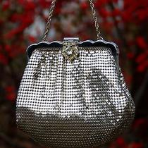 Vtg Whiting & Davis Co Mesh Evening Bag Purse Rhinestone Clasp Silver Chain 2920 Photo