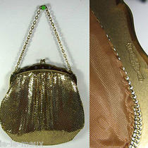 Vtg Whiting & Davis Gold Mesh Link Chain Evening Bag Purse  2997 Snowflake Trim Photo