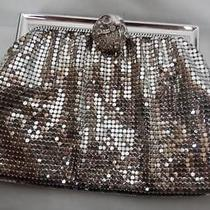 Vtg Whiting & Davis Silver Metallic Shimmer Rhinestone Coin Purse Pouch Clutch Photo