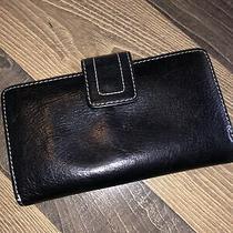 Vtg Women Fossil Checkbook Wallet Black Leather W/white Stitching Photo