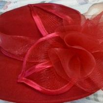 Vtg Women's Fancy Art Deco Hat -Bonnet Red Society Derby Pin Up Retro  Photo