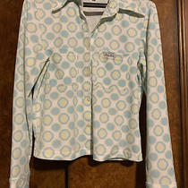 Vtg Womens Guess Long Sleeve Button Front Top Blue White Sz L Made in Usa Polye Photo
