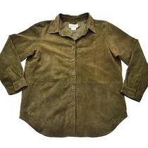 Vtg Womens Bagatelle Olive Green Suede Leather Long Shirt Jac Jacket Size L Photo