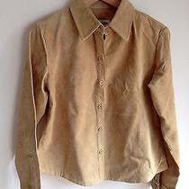 Vtg Womens Suede Leather Shirt Jacket - Size M Photo