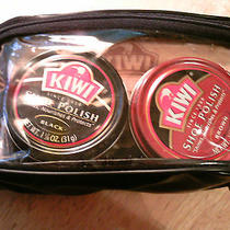 Vtg Y2k Kiwi Shoe Shine Care Kit 100% Horse Hair Brush Cloth Applicator Case   Photo