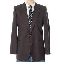 Vtg Yves Saint Laurent 44r 36x35 Brown Striped Two-Piece Suit Made in France Photo