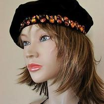 Vtg Yves Saint Laurent Beret Hat Jeweled Velvet Ysl Russian Peasant Rare Htf Photo
