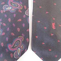 Vtg Yves Saint Laurent  Euc 2 Silk Skinny Neckties  57-58