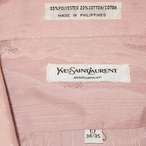 Vtg Yves Saint Laurent Menswear Pink Striped Ysl Men 17 34-35 Short Sleeve Shirt Photo