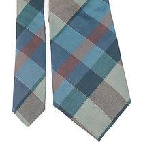 Vtg Yves Saint Laurent Plaid Skinny Tie Silk Ysl Tartan Blue Necktie Mens 100% Photo