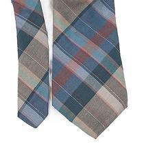 Vtg Yves Saint Laurent Plaid Tartan Skinny Tie Silk Necktie Ysl Mens Photo