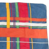 Vtg Yves Saint Laurent Scarf Plaid Colorful Head Wrap Cotton Sheer 35x17 Ysl Photo