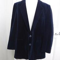 Vtg Yves Saint Laurent Ysl 44 Navy Blue Velvet Button Sport Coat Blazer Jacket Photo