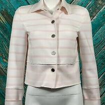 W by Worth Women Crop Blazer 2 Pink White Striped Snap Front Pockets Long Sleeve Photo
