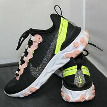 w's React Element 55 Shoes Premium Black Coral Pink Volt Cd6964-002 Size 7 Photo