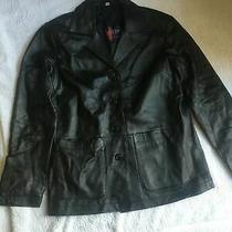 W327 Hudson  Black Real Leather Jacket Size 10 Photo