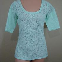 W36 Express Lace See Through Mint Green Stretch Blouse L 3/4 Sleeve Photo