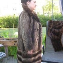 W4 Women Got to Have It Hobo Boho Raccoon Fur Coat Brown Fit Size 12/13  Photo